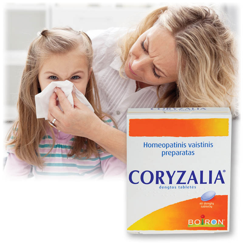 coryzalia alergijos simptomams mazinti