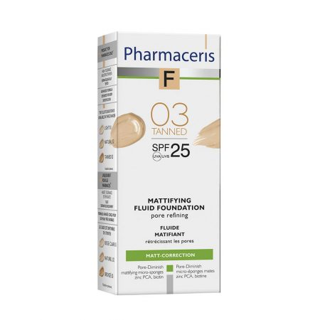 PHARMACERIS F, Mattifying-matinė pudra nr. 3, SPF25, 30ml (dėž.)